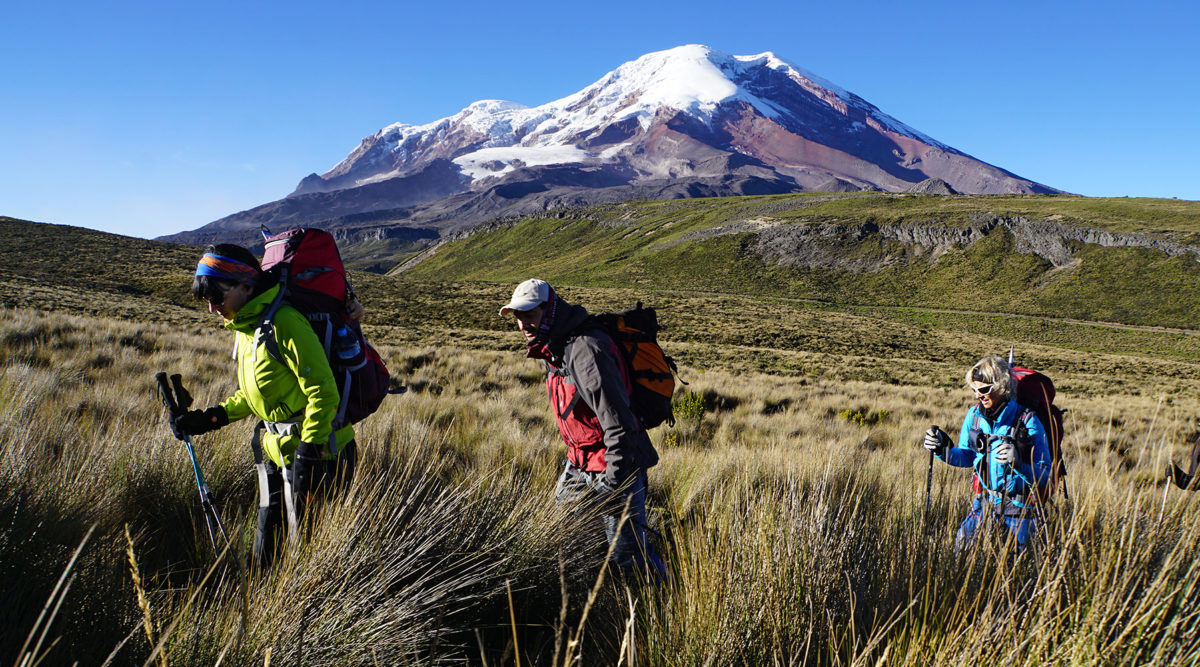 Mit Blick auf den Chimborazo dem Carihuayrazo entgegen